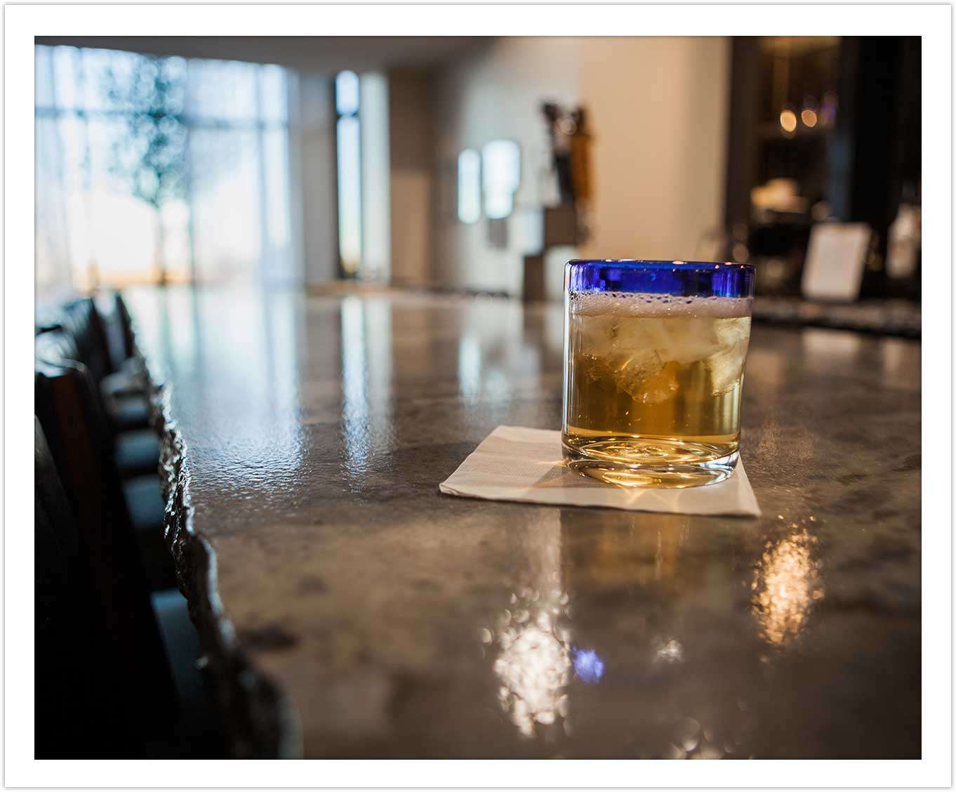 Beautiful Bar Countertop and tasty drink at Arbor Hotel and Conference Center Lubbock Texas